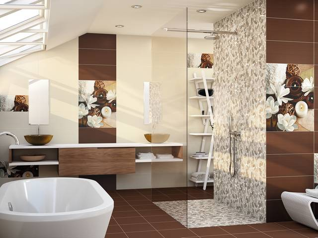 carrelage salle de bain beige et chocolat. Black Bedroom Furniture Sets. Home Design Ideas
