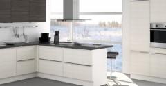 Cuisine quip e cora noir et blanc aviva frenchimmo - Cuisine equipee electromenager inclus ...