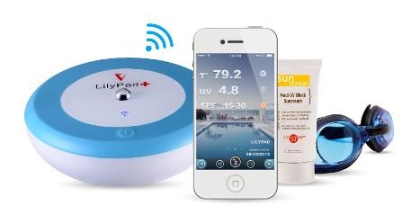 Lilypad capteur connect de temp rature et uv pour la for Temperature piscine