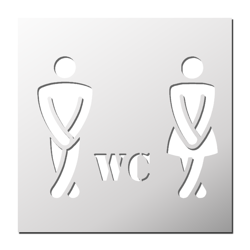 Panneau toilette humour simple pochoir wc pochoirs for Porte wc dessin